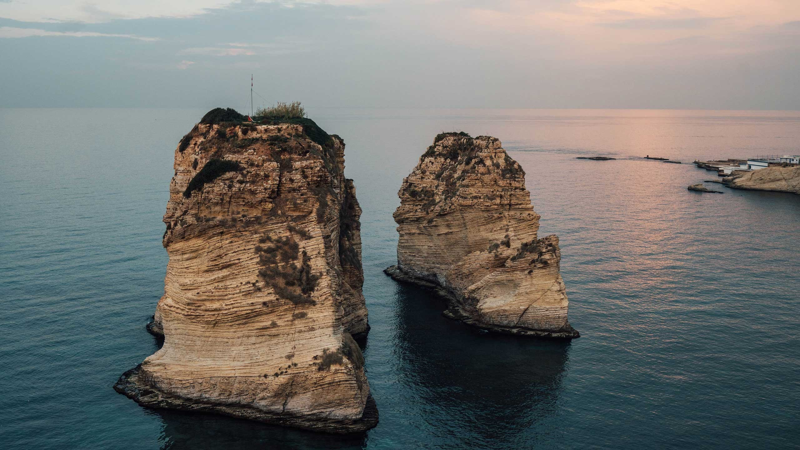 The Raouché rocks in Beirut, Lebanon.